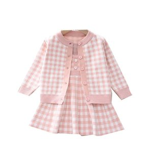 Girls Sweater Sets Kids Clothing Baby Clothes Outfits Autumn Winter Knitting Patterns Plaid Cardigan Coat Dress Princess Suits 2Pcs B8349