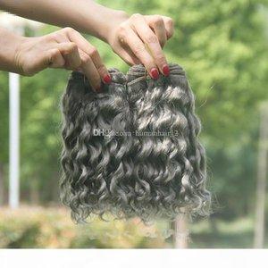 Silver Grey Deep Wave Human Hair Extensions 3Pcs lot Pure Color Gray Brazilian 9A Virgin Human Hair Weaves 3Bundles Deals For Black Women