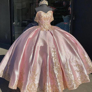 Pink Quinceanera Dresses with Gold Lace Applique Elegant Off the Shoulder Satin Sweet 16 Birthday Party Ball Gown Custom Made vestidos