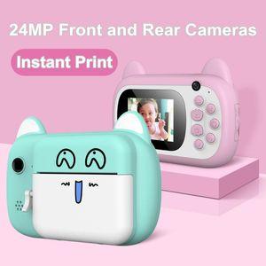 Digital Cameras Kids Camera 2.4 Inch HD Screen Front Rear Dual Cute Cartoon Print Camcorder Children's Birthday Gifts