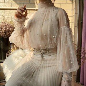 2021 Fashion Spring and Autumn Women Sweet Beads Puff Sleeve Pearl Button Gauze Blouse Ladies Elegant Mesh Blouse Top