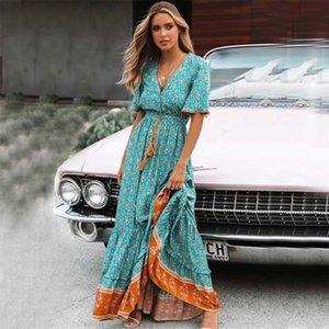 Boho ispirato Blus Floral Maxi Dress Bollo con scollo a V bottone giù pizzo finitura primavera abito estivo nappa legata vita lunga donne abiti 210317