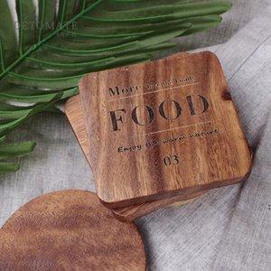Moda Durable Acacia Plaza Postera de madera Costera creativa de madera Aislamiento de calor antideslizante Mat de taza de café Taza de café Matada de comida FWD4913