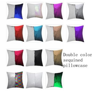 14 style Mermaid Pillow Cover Sequin Pillow Cover sublimation Cushion Throw Pillowcase Decorative Pillowcase That Change Color LLA398