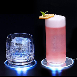 LED Luminous Coaster Ultra Thin Acrylic Cocktail Coaster Bar Mixing Wine Luminous Color Coaster Bar Party Beer Beverage Decoration EWD5061