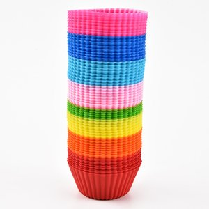 3-дюймовый силиконовый кекс лайнеры плесень плесень кекс с круглым формой чашка торта плесень SGS торт выпечки сковородки выпечки выпечки инструменты для выпечки 8 цветов DBC DH1353