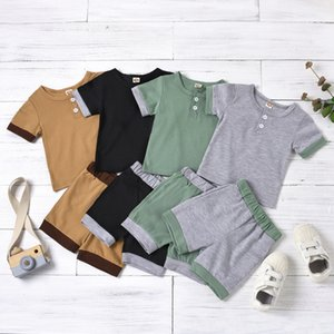 INS New Baby Kids Boys Suits Cotton Front Buttons Short Sleeve Tees with Shorts Pants 2Pieces Summer Children Clothing Outfits