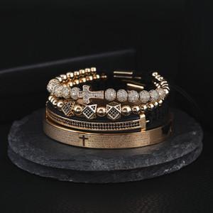 4pcs Set Hot Men Steel Carving Spanish Scripture Bangle Micro Zircon Cross Bracelet Pulseira Bileklik Luxury Handmade Jewelry