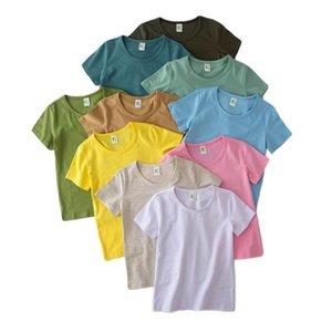 Дети мальчики сплошные футболки 10 цветов с коротким рукавом топы малыша детские хлопковые рубашки подростки железа одежда детские пуловерные наряды