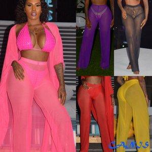 Summer Plus Size 2XL Colorful Cover-Ups Womens Beach Mesh Sheer See Through High Waist Pants Bikini Cover Up Flared Trousers