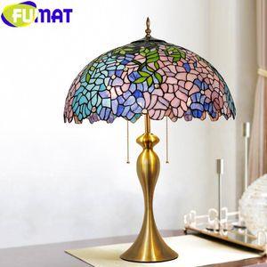 Fumat Tiffany Style Wisteria Lámpara de mesa de cristal Manchado Escritorio azul Multicolor Sombra Multicolor Clásico Marco de aleación de oro Arte Decoración del hogar