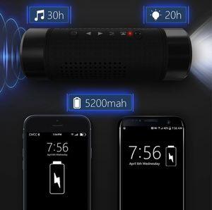 Alto-falantes de Bluetooth ao ar livre portátil Bicicleta sem fio 5200mAh banco de potência à prova d'água com microfone / LED luz acessórios ao ar livre