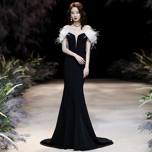 Annual Meeting Evening Women's 2021 Spring New Black Elegant Texture Tuxedo Host Banquet Dress