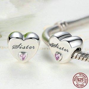 Heart shape Sister Dad Mom Daughter beads fit Original Pandora charms silver 925 Bracelet trinket jewelry for women DIY making434 T2