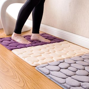 NEW Pebble Flannel Floor Carpet Shower Kitchen Foam Pad Bathroom Rug Non-Slip Mat 40*60cm