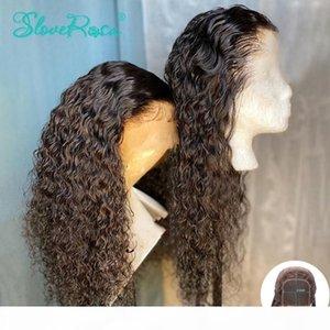 Glresse 4x4 Dentelle Fermeture Perruques Sassy Curly Humain Cheveux Perruques 150% pour Femmes Couleur Noire Couleur Péruvienne Remy Dentelle Dentelle Slove Rosa