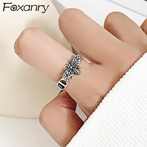 Cluster Rings Foxanry Vintage Punk 925 Sterling Silver Fashion Sweet Cute Bee Thai Jewelry Party Gifts For Women Wholesale
