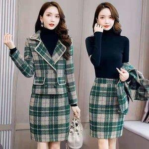 Set di donne Tweed Abbigliamento donna Elegante Giacca da donna Gonna Definisci Y361 RFE0