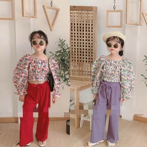 Girls Sets Kids Outfits Spring Summer Floral Tops Blouses Long Wide Leg Pants 2Pcs Sets Girls Clothes Kids Clothing 2 6Y B3985