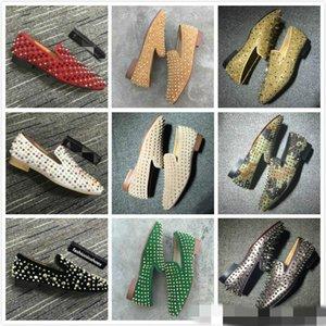Luxurys 디자이너 레드 바닥 Loafer Des Chaussures 남자 드레스 신발 빈티지 캐주얼 파티 웨딩 신발 스파이크 대형 로퍼 카니 메 양말