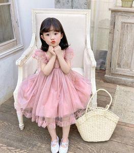 Süße Mädchen Spitze Falbala Fly Sleeve Kleid 2021Summer Neue Kinder Stereo Schmetterling Prinzessin Kleid Kinder Spitze Falbala Kleider A5849