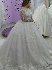 Vintage Vestidos Pearls Lace Ball Gown Wedding Dresses Illusion Long Sleeve Appliques Beads Long Court Train 2021 Princess Wedding Dress