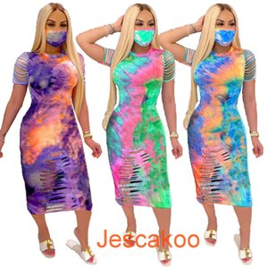 Summer Women Long Maxi Dresses Tie Dyed Designer Flower Dress Cut Out Printed Skirts Plus Size Women Clothing Without Mask