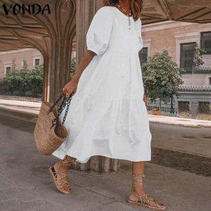 "Femme Party Robe d'été Vintage Sexy Lanterne Sleeve Robe à mi-veau Vonda 2021 Femmes 'Sundress ""Casual Bohemian Beach Vestidos Plus"