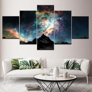 Canvas Painting Snow Galaxy Scenario 5 Pezzi Art Wall Art Pittura Sfondi modulari Poster Stampa per soggiorno Decorazioni per la casa