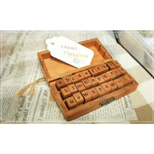 Fast Shipping Wholesale Creative Lowercase Uppercase Alphabet Wood Rubber Stamps Set with Wooden Box 50sets lot Wholesale