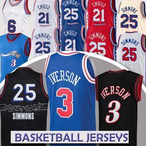 Nba jersey Philadelphia 76ers basketball jersey 3 Allen Iverson 21 Joel Embiid 25 Ben Simmons 6 Julius Erving basketball jerseys high
