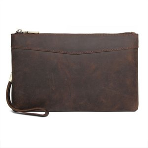 Wallets Men Leather R-8453 Luxury Bag Large Business Bag Big Clutch Genuine Hand Clutch Vintage Male RFID Wallet Purse Ptcaq