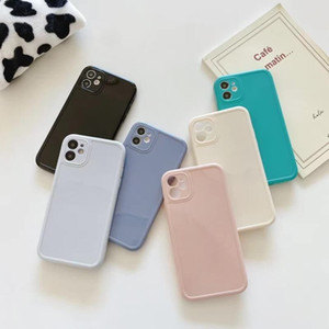 2021 new Square Silicone Phone Case For iPhone 12 11 Pro Max Mini Soft Candy Case Cover dhl