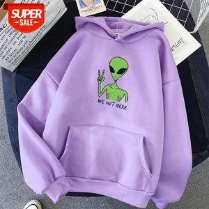 Alien WE OUT HERE Print oversized Sweatshirt Women Kawaii Hoodies clothes Hoody Itself Full Sleeve harajuku korean style tops #gq9d