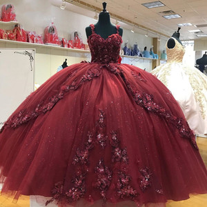 Sparkly Burgendy Sweet 16 Ball Gown Dresses Beaded Sequins 3D Flowers Sweetheart Vestido De 15 Anos Quinceanera 2021
