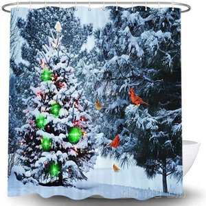 Shower Curtains Winter Christmas Tree Decor By Ho Me Lili Curtain Snow Forest North American Cardinals Bathroom Accessories With Hooks