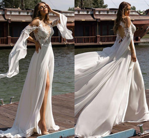 Bohemian Lace Chiffon Wedding Dresses 2021 Fashion Scoop Neck Backless Appliques Slit Beach A Line Bridal Gowns Vestido de novia AL8764
