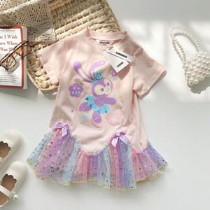 INS new Girls dance rabbit printed dress 2021 summer children Gradient star gauze dress Easter Kids short sleeve T-shirt dress A5895