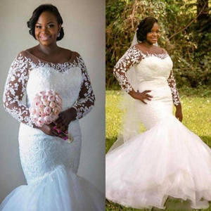 2021 Plus Size African Wedding Dresses Vestios De Marriage New Custom Hot Sales Applique Tulle Sheer Long Sleeve Mermaid Bridal Gowns