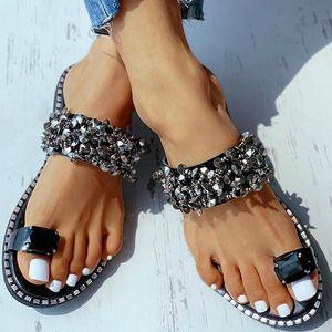 Summer Women Slippers 2021 Crystal Studded Toe Ring Flat Sandals Platform Peep Toe Flip Flops Fashion Punk Outdoor Ladies Shoes