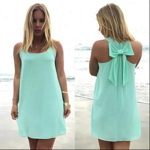 Summer dress 2021 fashion bow casual women sundress solid color beach dress chiffon dress women clothes vestidos plus size