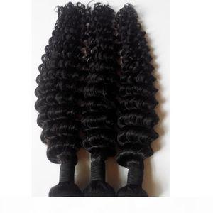 Peruvian Malaysian Brazilian human Hair Weft Natural black 8-30inch Deep wave Unprocessed European Indian remy hair extensions 4pcs DHgate