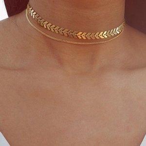 Рыбные кости ожерелье Самолет блестки ключицы цепи ожерелье женские