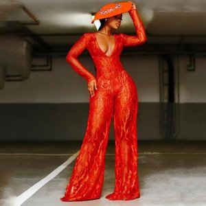 Women's Jumpsuits & Rompers 2021 Spring Sexy See Thorough V Neck One Piece Sequins Red Flame Pants Fashion Club Streetwear