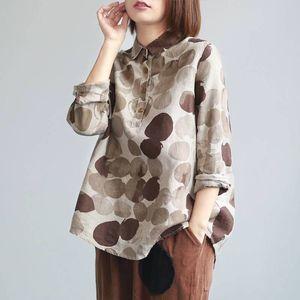 FJE Neue Frühlingsfrauen Hemden Plus Size Langarm Baumwolle Leinen Button Beiläufige Hemden Vintage Polka Dot Print Vintage Blusen P11 210311