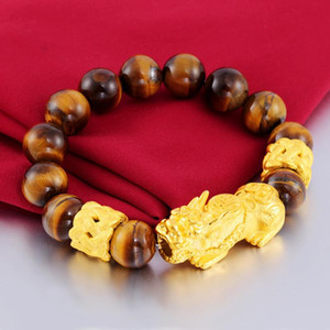Original 24K gold Pixiu FengShui bracelet Gifts real Tiger's eye beads bracelets for man women lucky bangle Amulet Jewelry