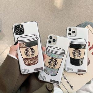 Cute Cartoon Glitter Dynamic Liquid Quicksand Coffee Cup Back Cover for iPhone 12 Mini 11 Pro XS Max XR 6s 8 Plus SE2020
