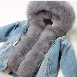 Maomaokong natural rabbit fur lined denim jacket fox fur coat coat fashion denim fox fur warm lady winter jacket women parka Y201001