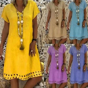 2019 short sleeve mid skirt autumn summer V-neck dress QP62