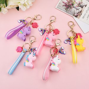 DHL Fashion Stereo Rainbow Unicorn Keychain Keyring Plush Toys for Kids Creative Phone Bag Car Exquisite Pendant Gift for Friends